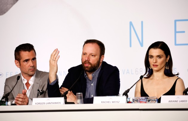 "CANNES, FRANCE - MAY 15: (L-R) Actor Colin Farrell, director Yorgos Lanthimos and actress Rachel Weisz, attend the ""The Lobster"" press Conference during the 68th annual Cannes Film Festival on May 15, 2015 in Cannes, France. (Photo by Tristan Fewings/Getty Images)"