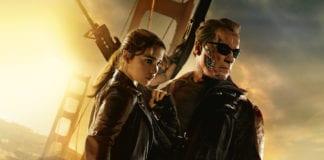 Emilia Clarke y Arnold Schwarzenegger en Terminator Génesis