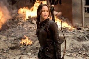 Jennifer Lawrence en Los Juegos del Hambre: Sinsajo. Parte1