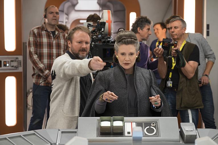 Carrie Fisher en el rodaje de Star Wars: El último Jedi
